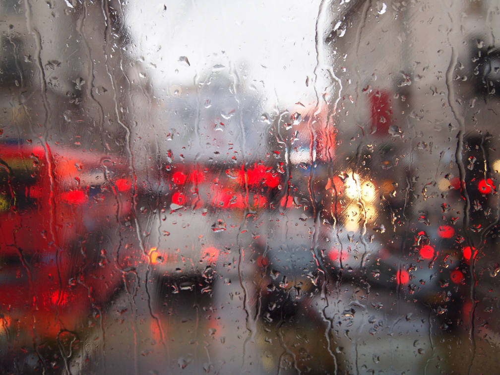 Picadilly Circus London Rain Red Mist